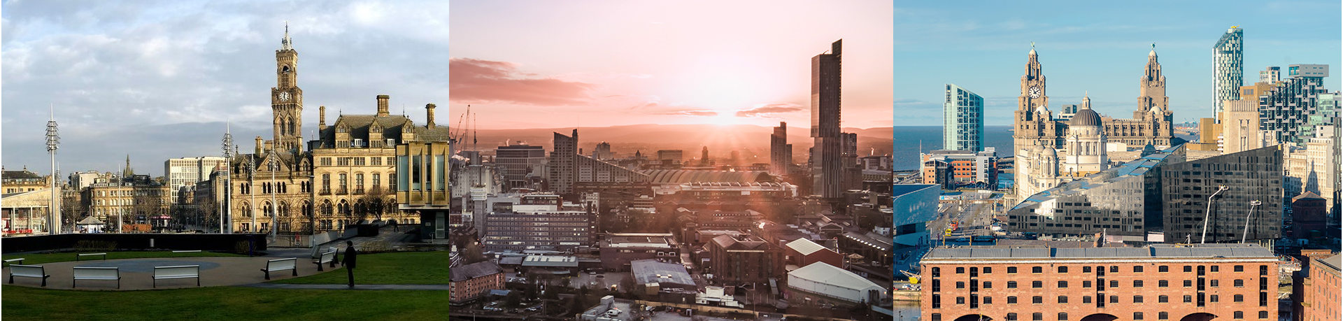 Views across the skylines of Bradford, Manchester and Liverpool